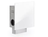 Vierkant stopcontact met USB, wit glas_13
