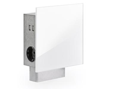 Vierkant stopcontact met USB, wit glas