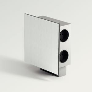 Vierkant stopcontact met USB, aluminium